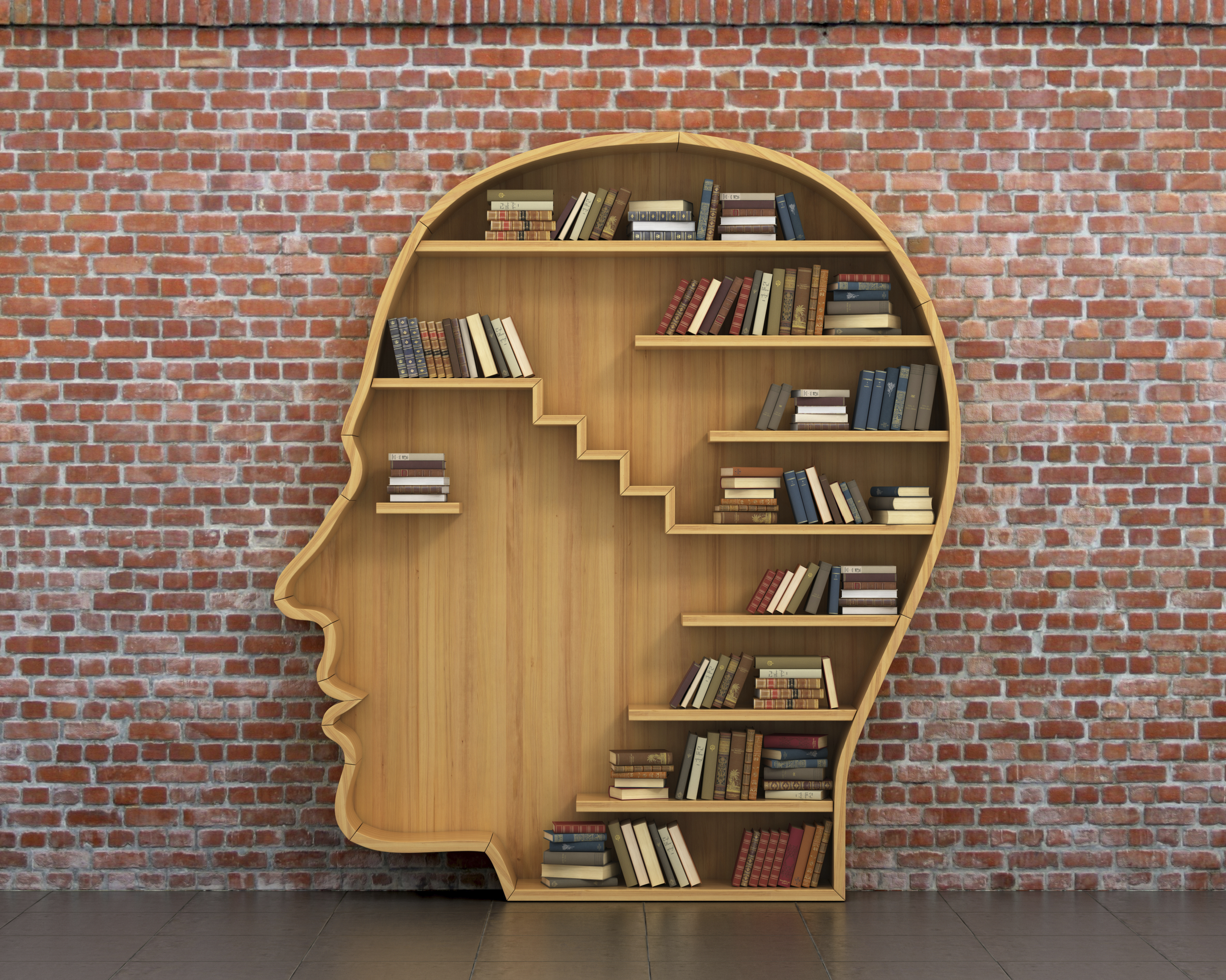 Concept of training. Wooden bookshelf full of books in form of man head on a bricks background. Science about human. Psychology. A human have more knowledge.